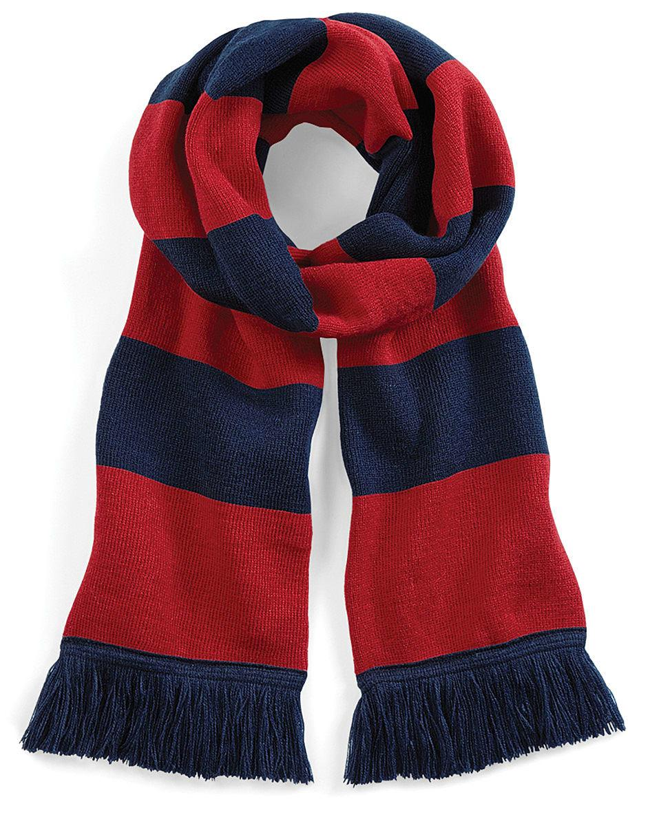 Beechfield Varsity Scarf in French Navy / Classic Red (Product Code: B479)