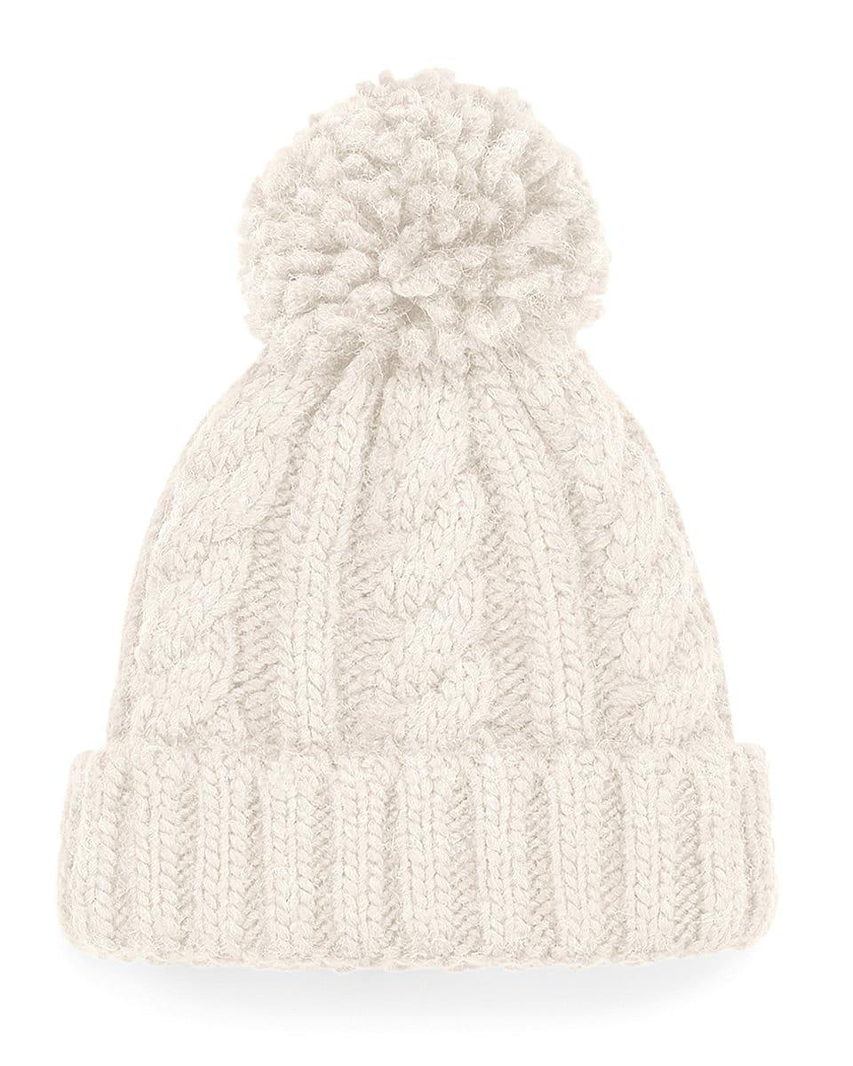 Beechfield Infant Cble Knit Melang Beanie Hat in Oatmeal (Product Code: B480A)