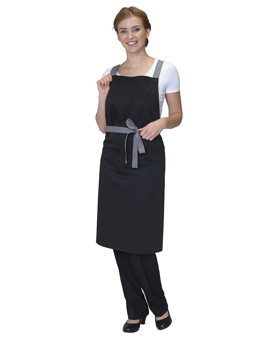 Dennys Cross Back Apron in Black (Product Code: DP130)