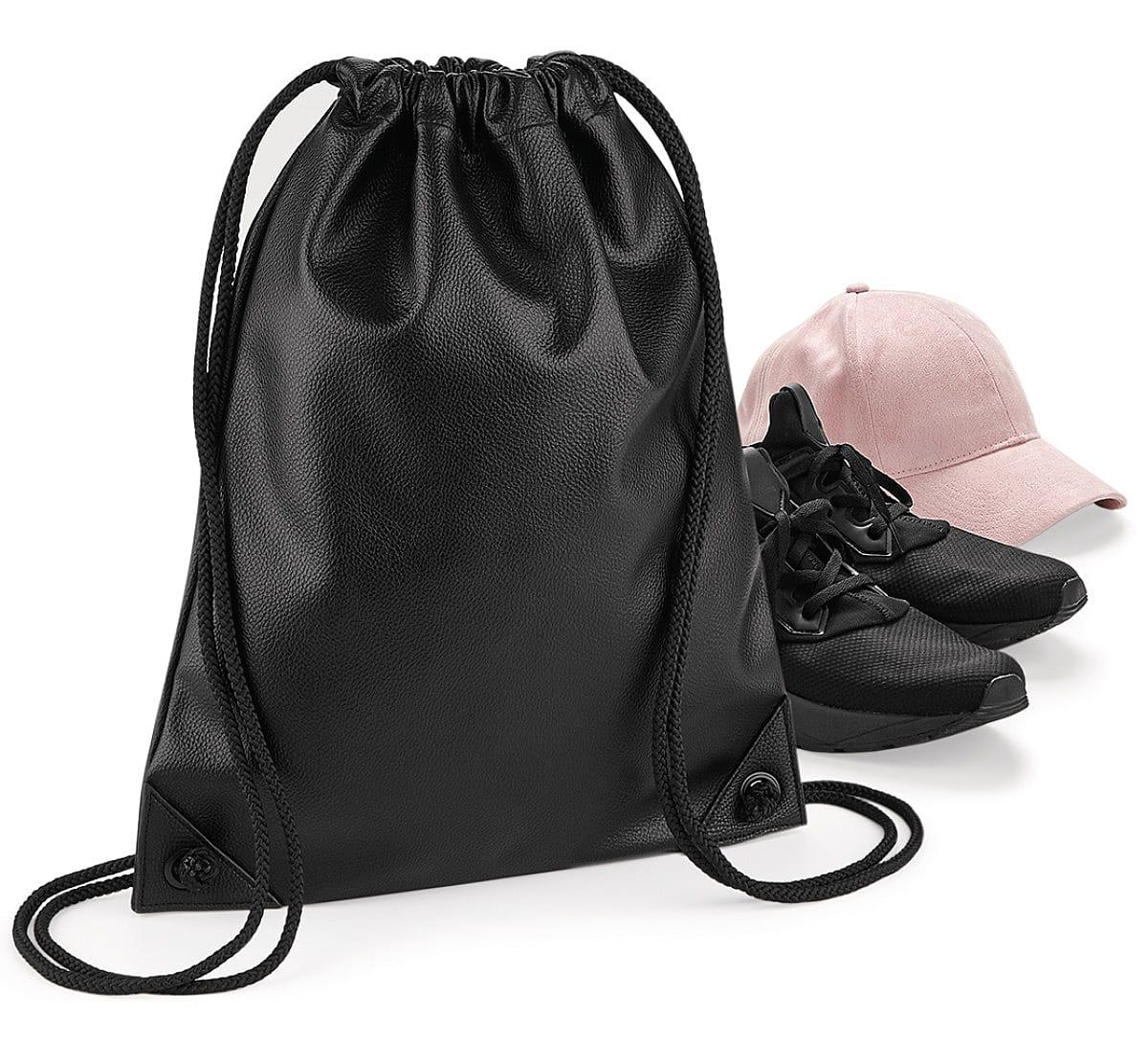 Bagbase Faux Leather Gymsac in Black (Product Code: BG250)