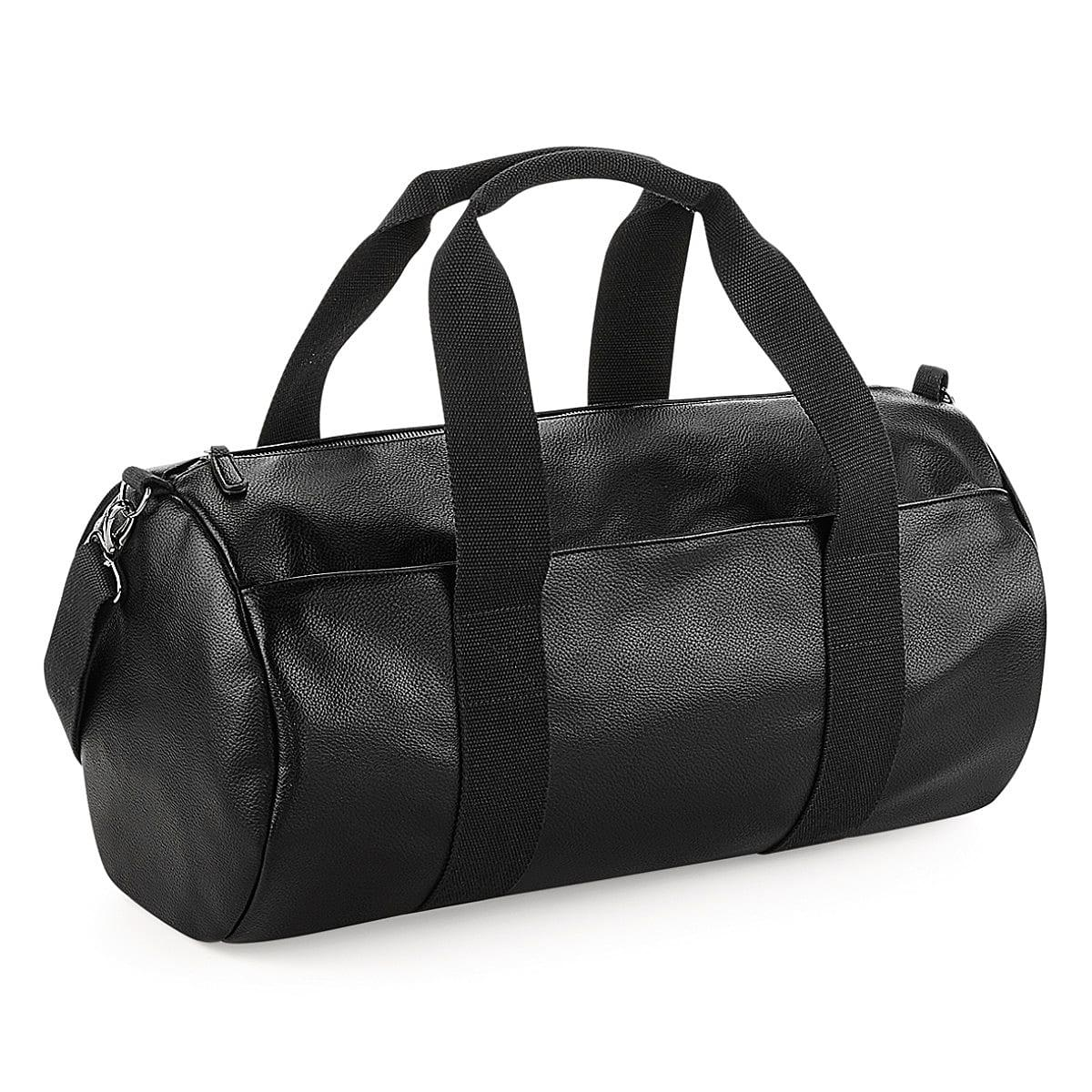 Bagbase Faux Leather Barrel Bag in Black (Product Code: BG258)
