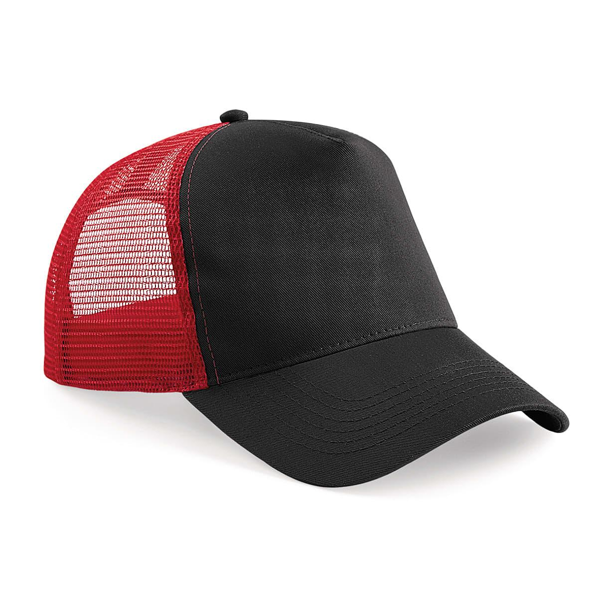 Beechfield Snapback Trucker Cap in Black / Classic Red (Product Code: B640)