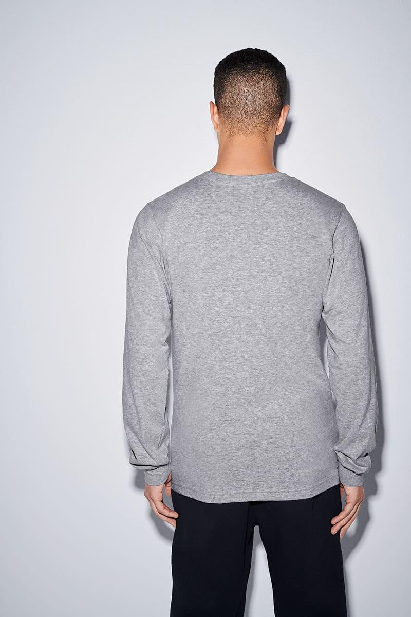American Apparel Unisex Fine Jersey LS T-Shirt in Heather Grey (Product Code: 2007W)