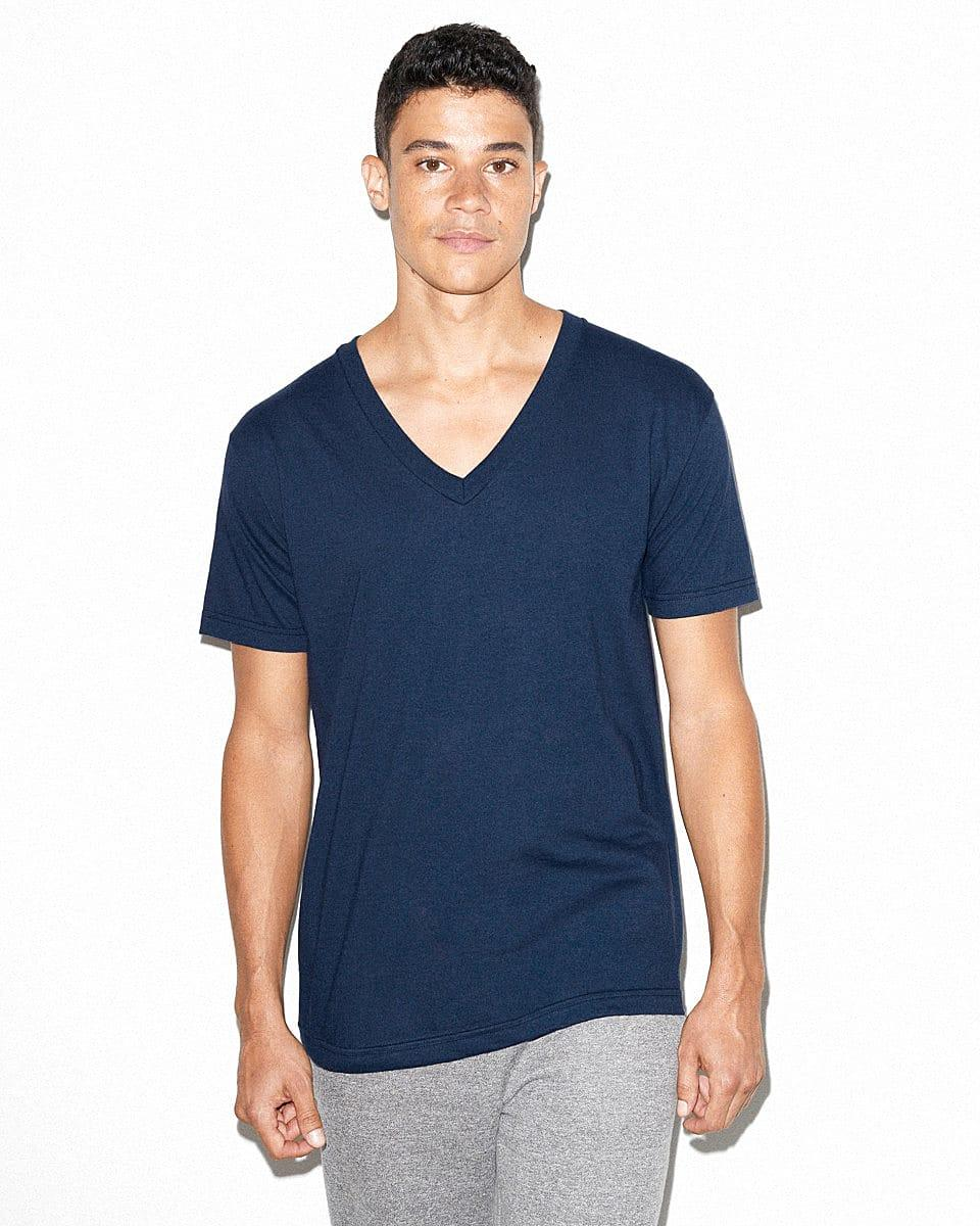 American Apparel Fine Jersey V-Neck T-Shirt in Navy Blue (Product Code: 2456W)