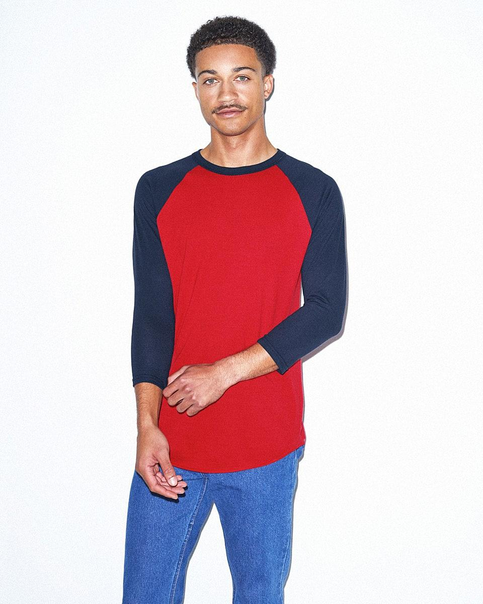 American Apparel 3/4 Raglan T-Shirt in Red / Navy (Product Code: BB453W)