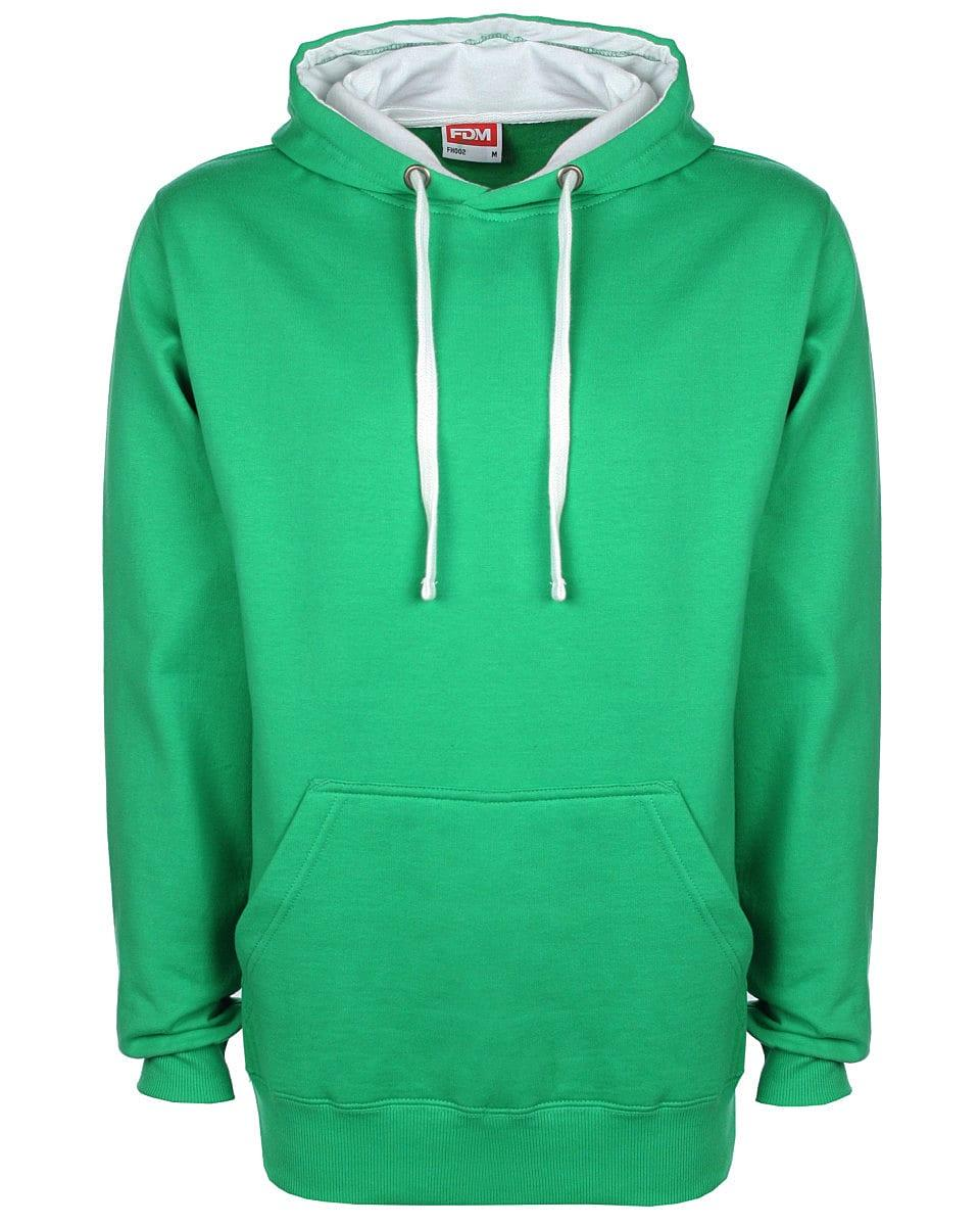 FDM Unisex Contrast Hoodie in Kelly Green / White (Product Code: FH002)