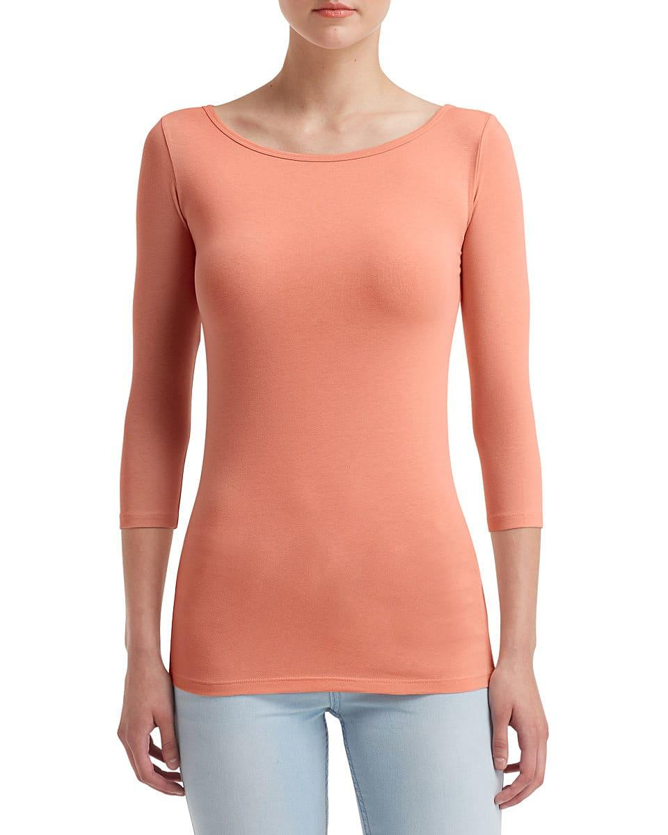 Anvil Womens Stretch 3/4 T-Shirt in Terracotta (Product Code: 2455L)