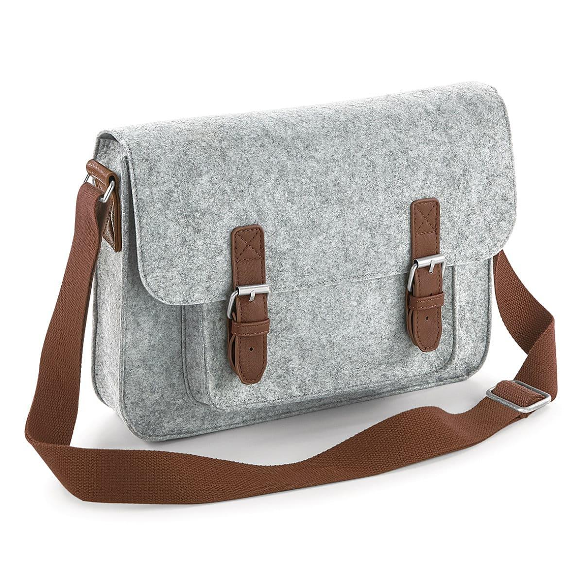 Bagbase Premium Felt Satchel in Grey Melange / Tan (Product Code: BG736)