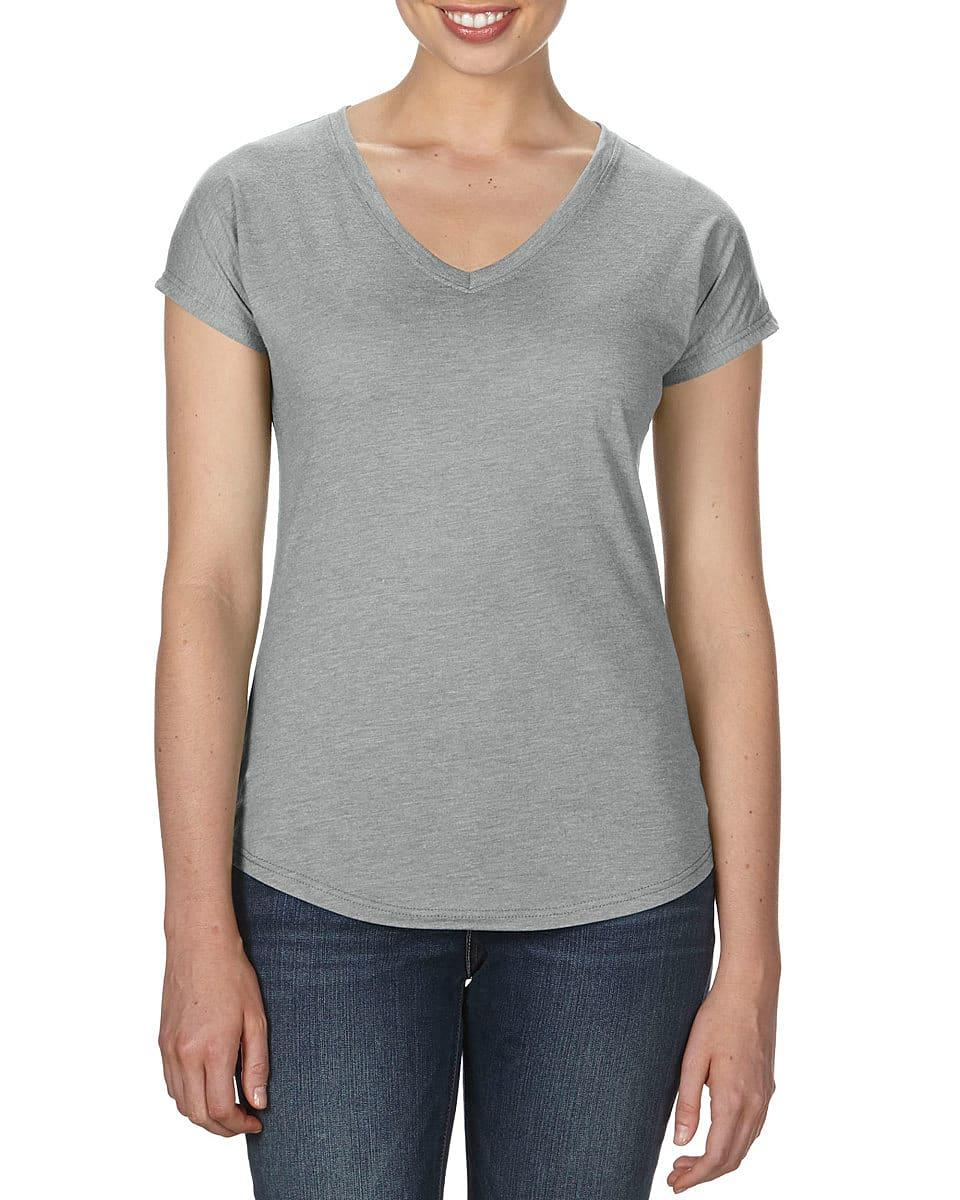 Anvil Womens Tri-Blend V-Neck T-Shirt in Heather Grey (Product Code: 6750VL)