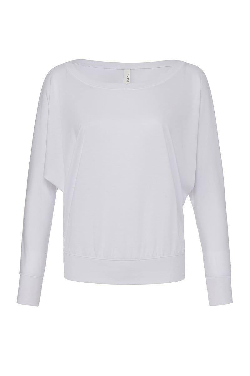 Bella Flowy Off Shoulder Long-Sleeve T-Shirt in White (Product Code: BE8850)