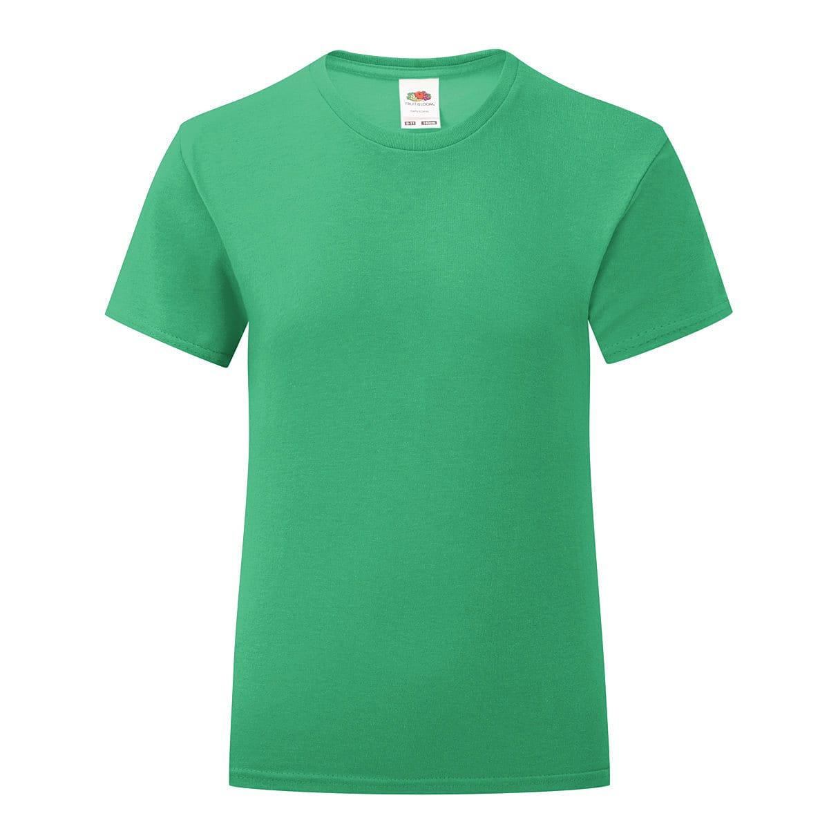 Fruit Of The Loom Girls Iconic T-Shirt in Kelly Green (Product Code: 61025)