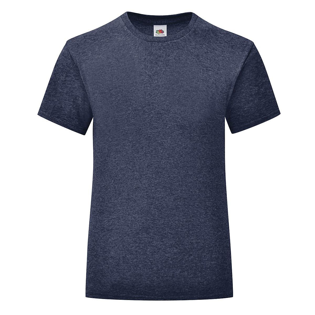 Fruit Of The Loom Girls Iconic T-Shirt in Vintage Heather Navy (Product Code: 61025)