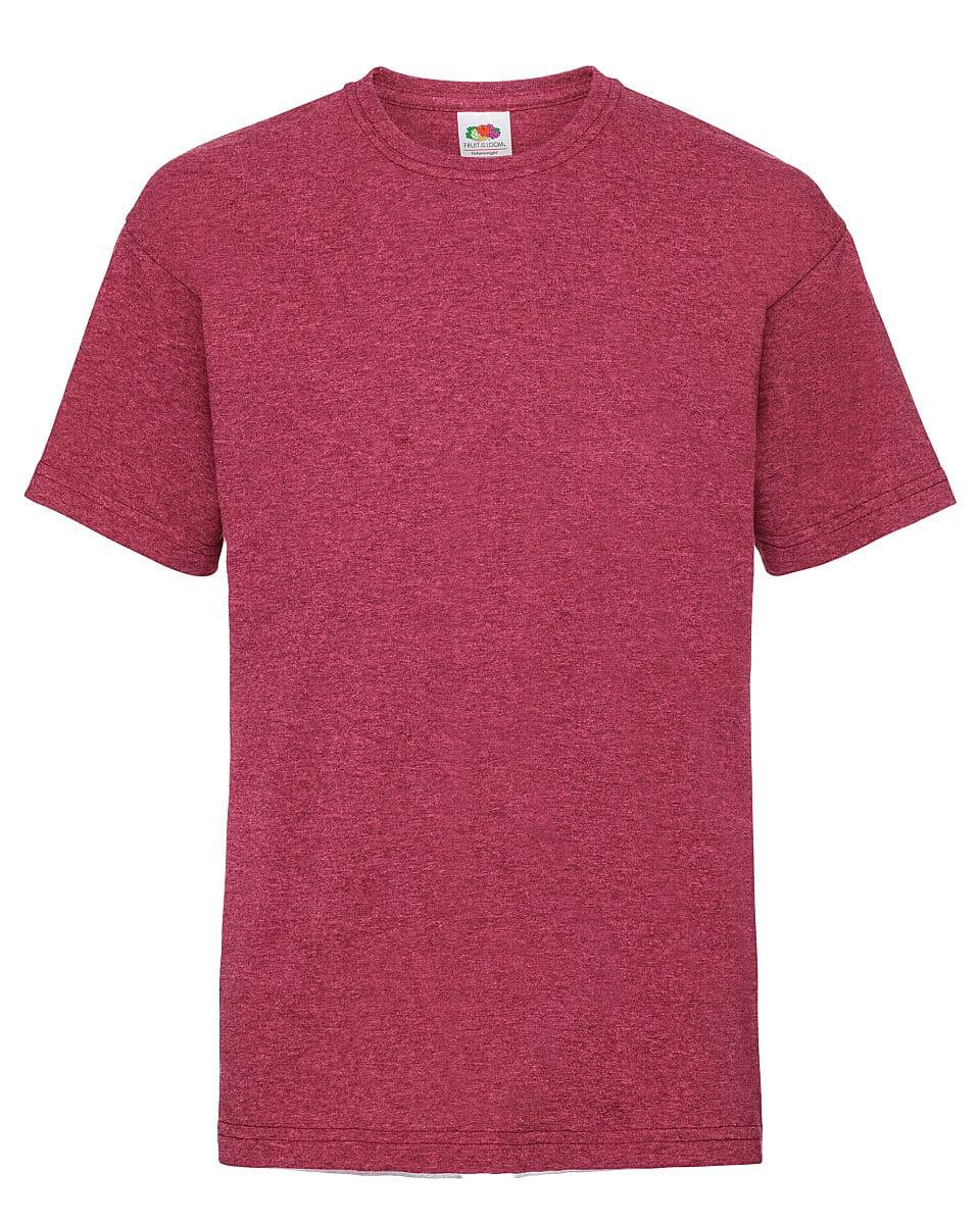 Fruit Of The Loom Childrens Valueweight T-Shirt in Vintage Heather Red (Product Code: 61033)
