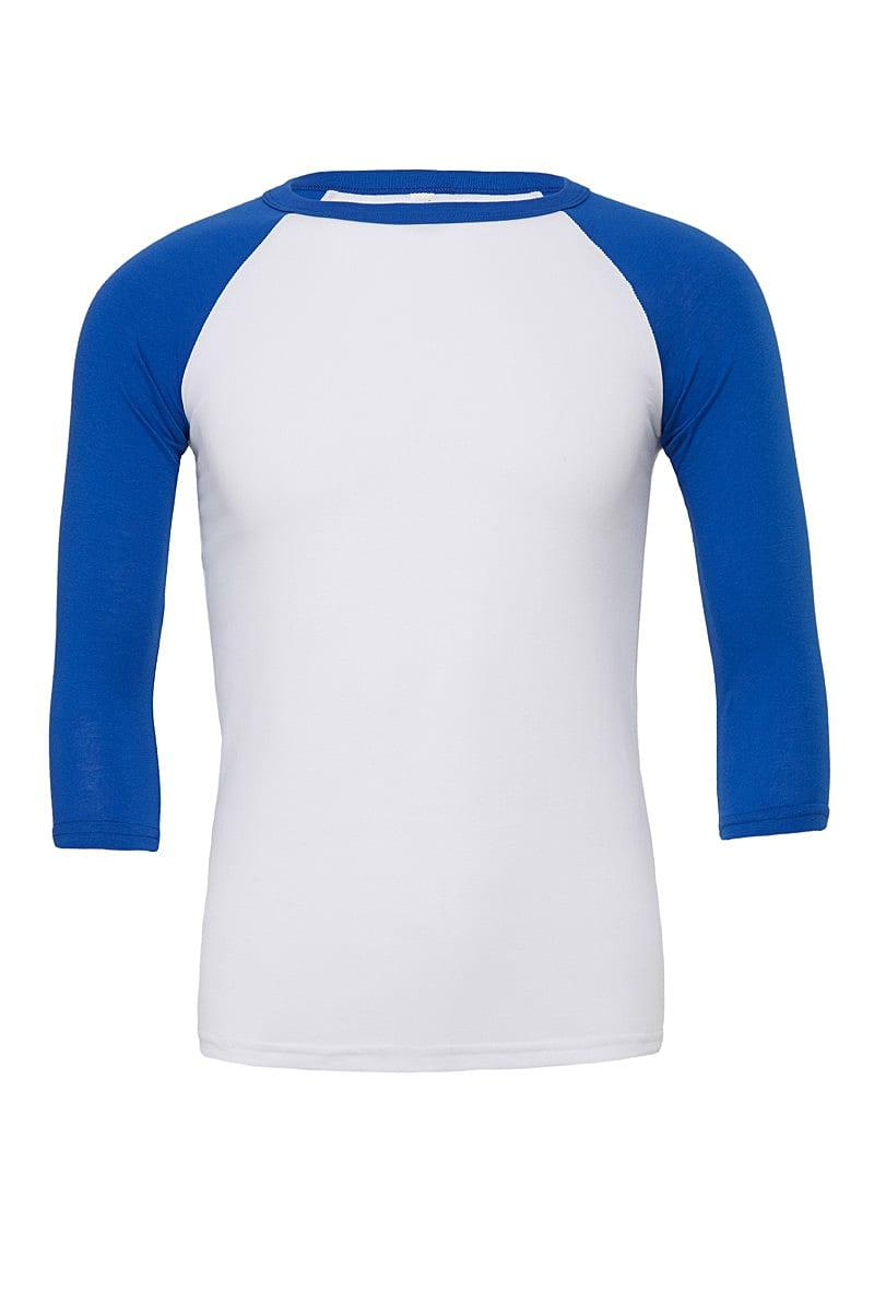 Bella Canvas 3/4 Baseball T-Shirt in White / True Royal (Product Code: CA3200)