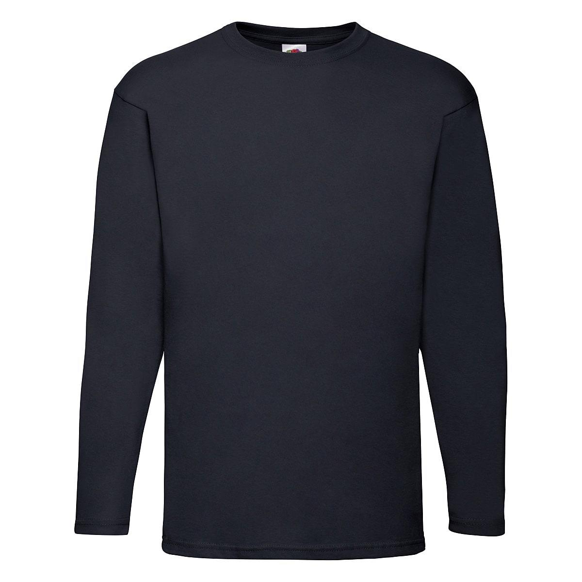 Fruit Of The Loom Valueweight Long-Sleeve T-Shirt in Deep Navy (Product Code: 61038)