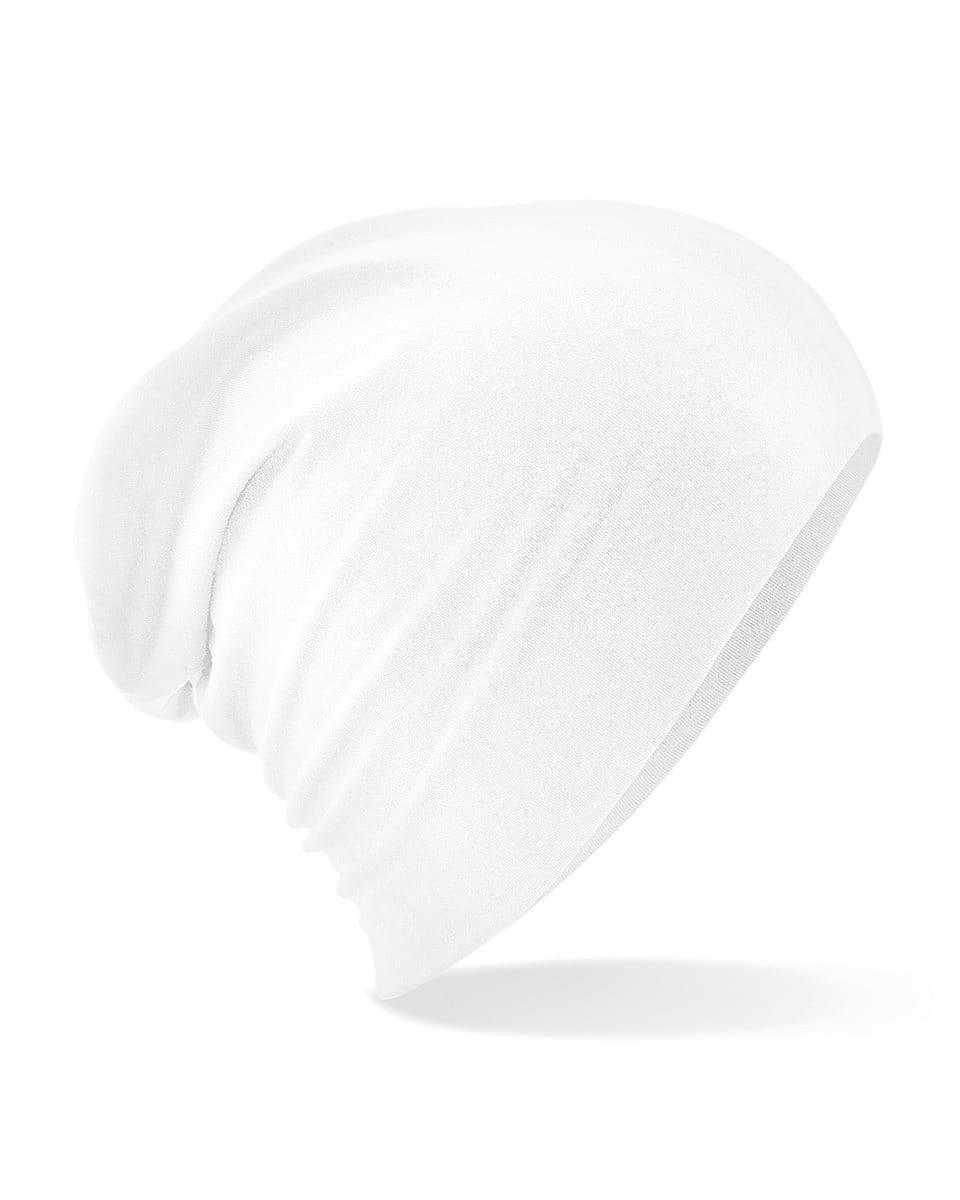 Beechfield Hemsedal Cotton Slouch Beanie Hat in White (Product Code: B368)
