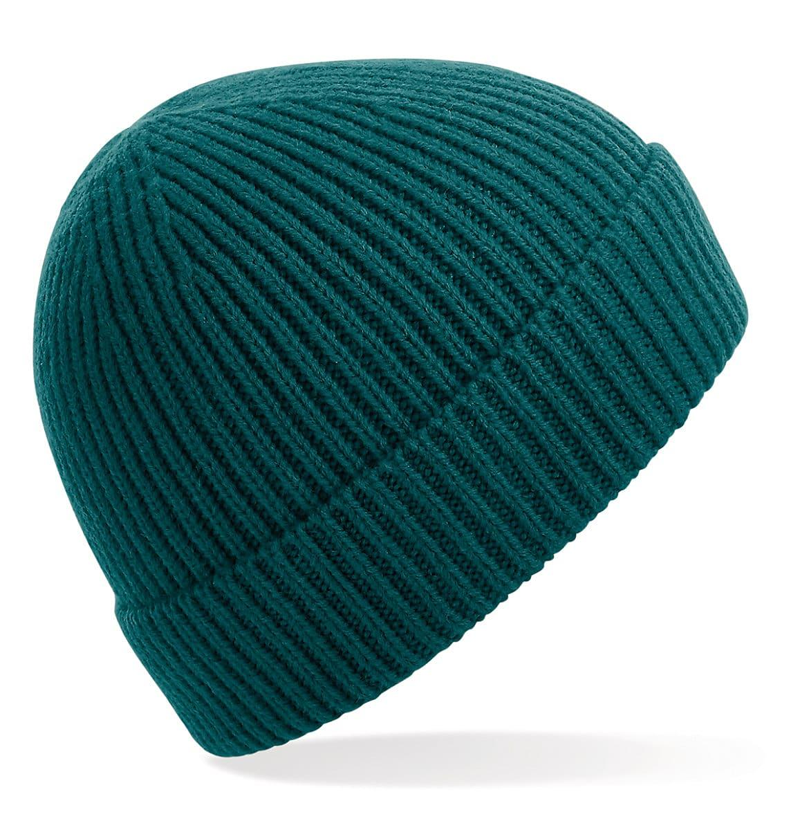 Beechfield Engineered Knit Ribbed Beanie Hat in Ocean Green (Product Code: B380)