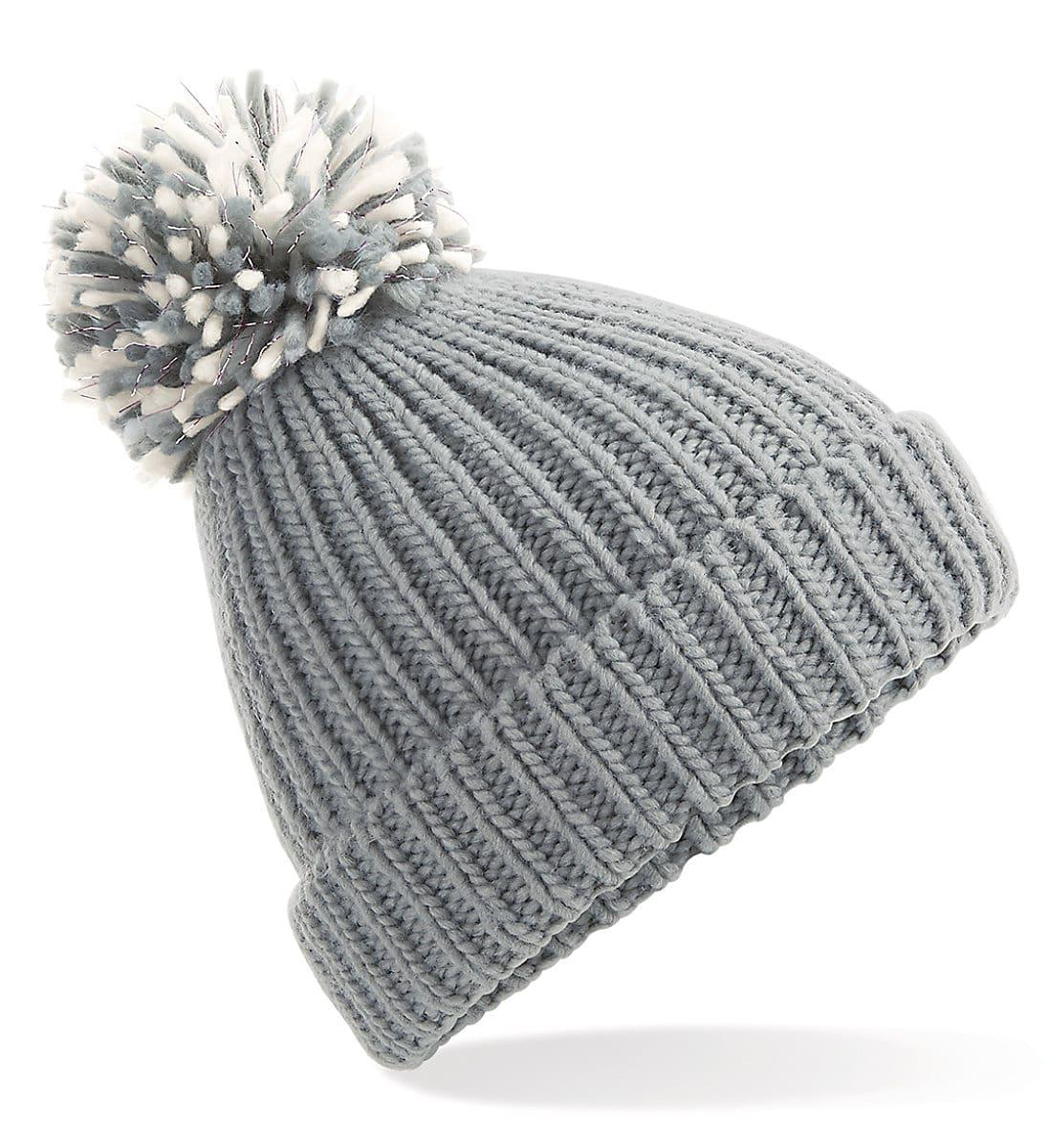 Beechfield Shimmer Pom Pom Beanie Hat in Light Grey / Off-White (Product Code: B409)