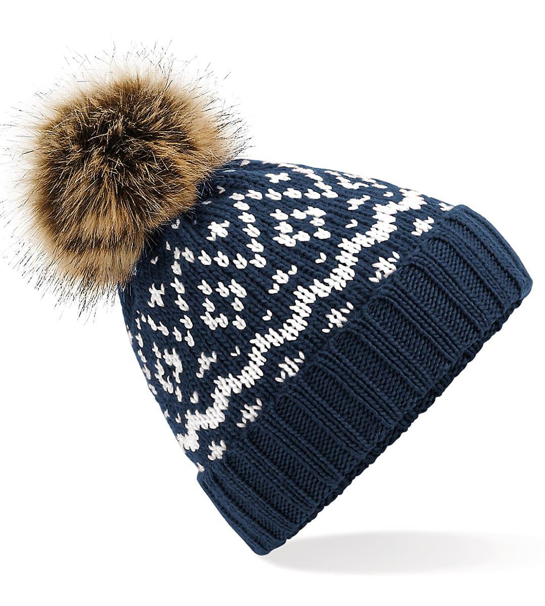 Beechfield Fair Isle Pop Pom Beanie Hat in French Navy / White (Product Code: B411)