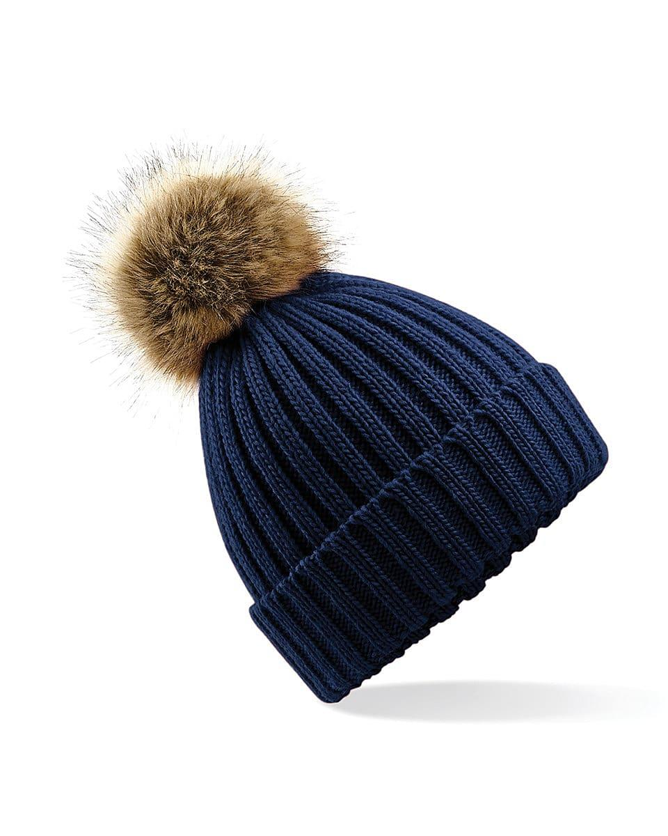 Beechfield Fur Pop Pom Chunky Beanie Hat in Navy Blue (Product Code: B412)