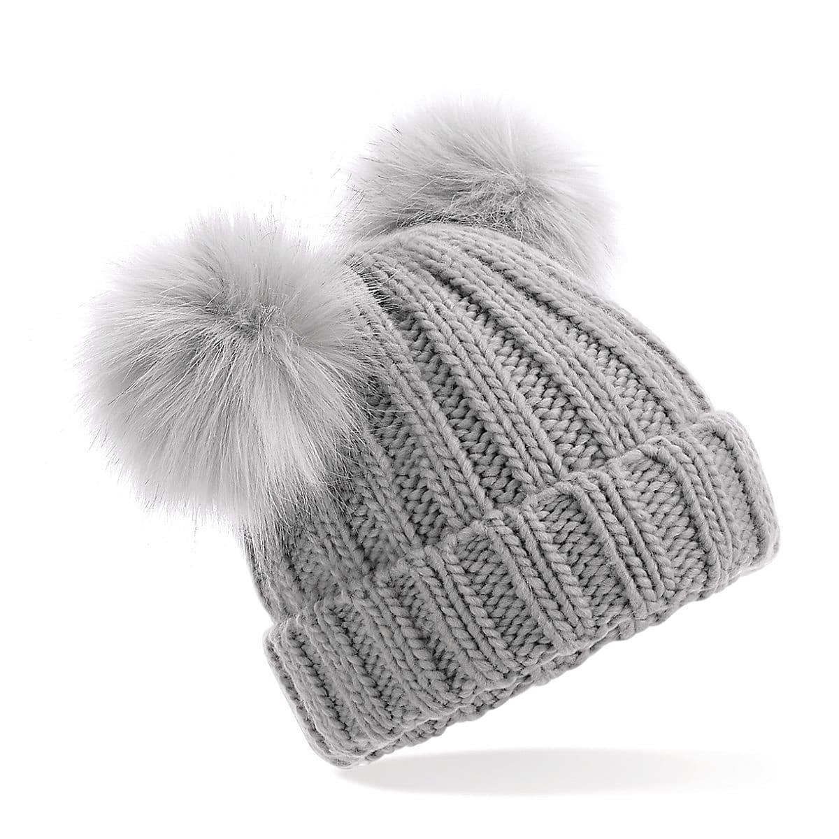 Beechfield Junior Double Pom Pom Beanie Hat in Light Grey (Product Code: B414B)