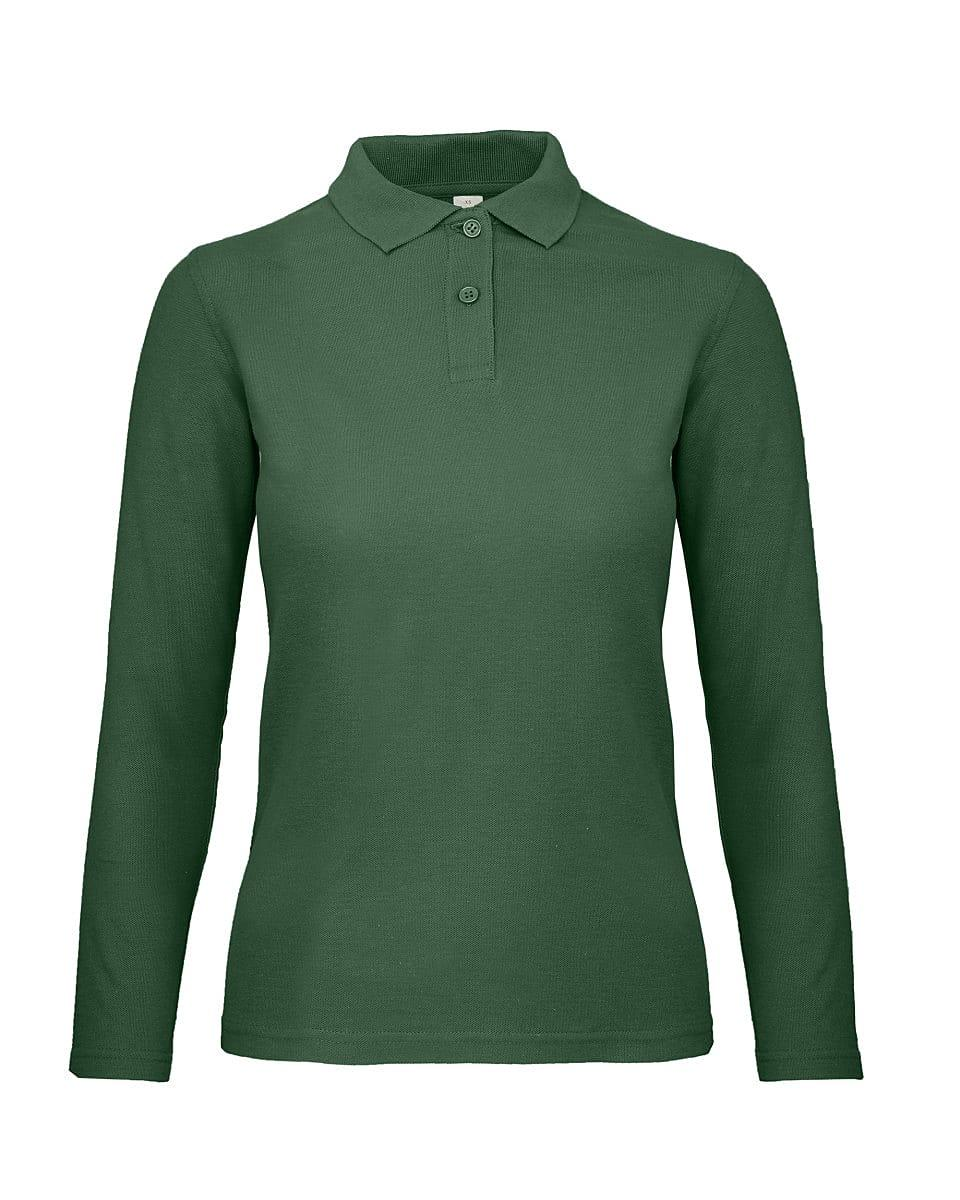 B&C Womens ID.001 Long-Sleeve Polo Shirt in Bottle Green (Product Code: PWI13)