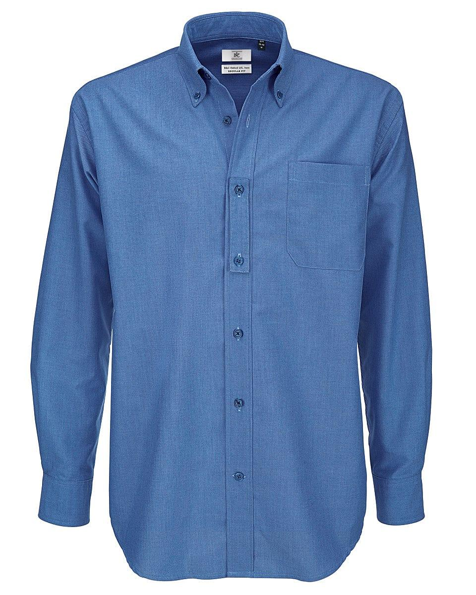 B&C Mens Oxford Long-Sleeve Shirt in Blue Chip (Product Code: SMO01)