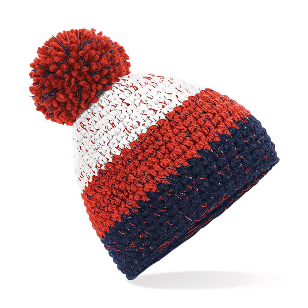 Beechfield Freestyle Beanie Hat in White / Fire Red / Oxford Navy (Product Code: B436)