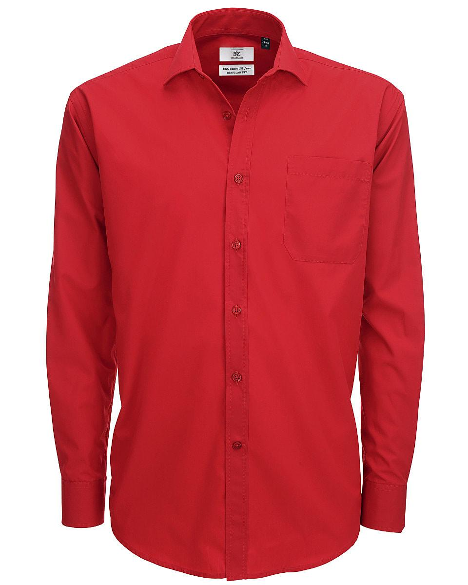 B&C Mens Smart Long-Sleeve Poplin Shirt in Deep Red (Product Code: SMP61)