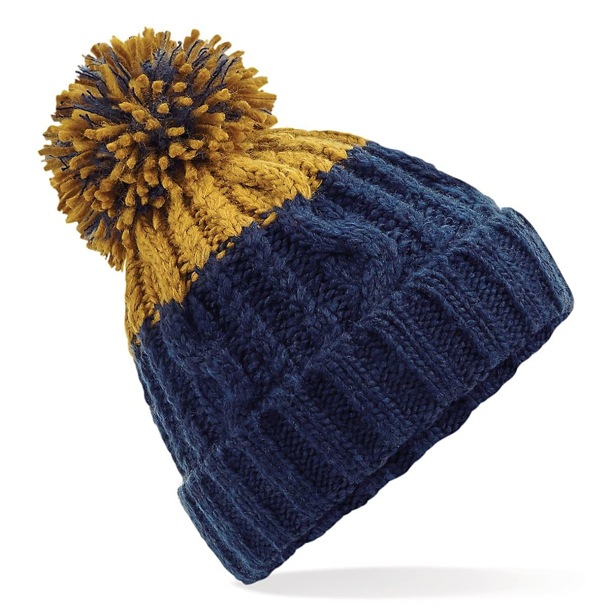 Beechfield Apres Beanie Hat in Oxford Navy / Mustard (Product Code: B437)