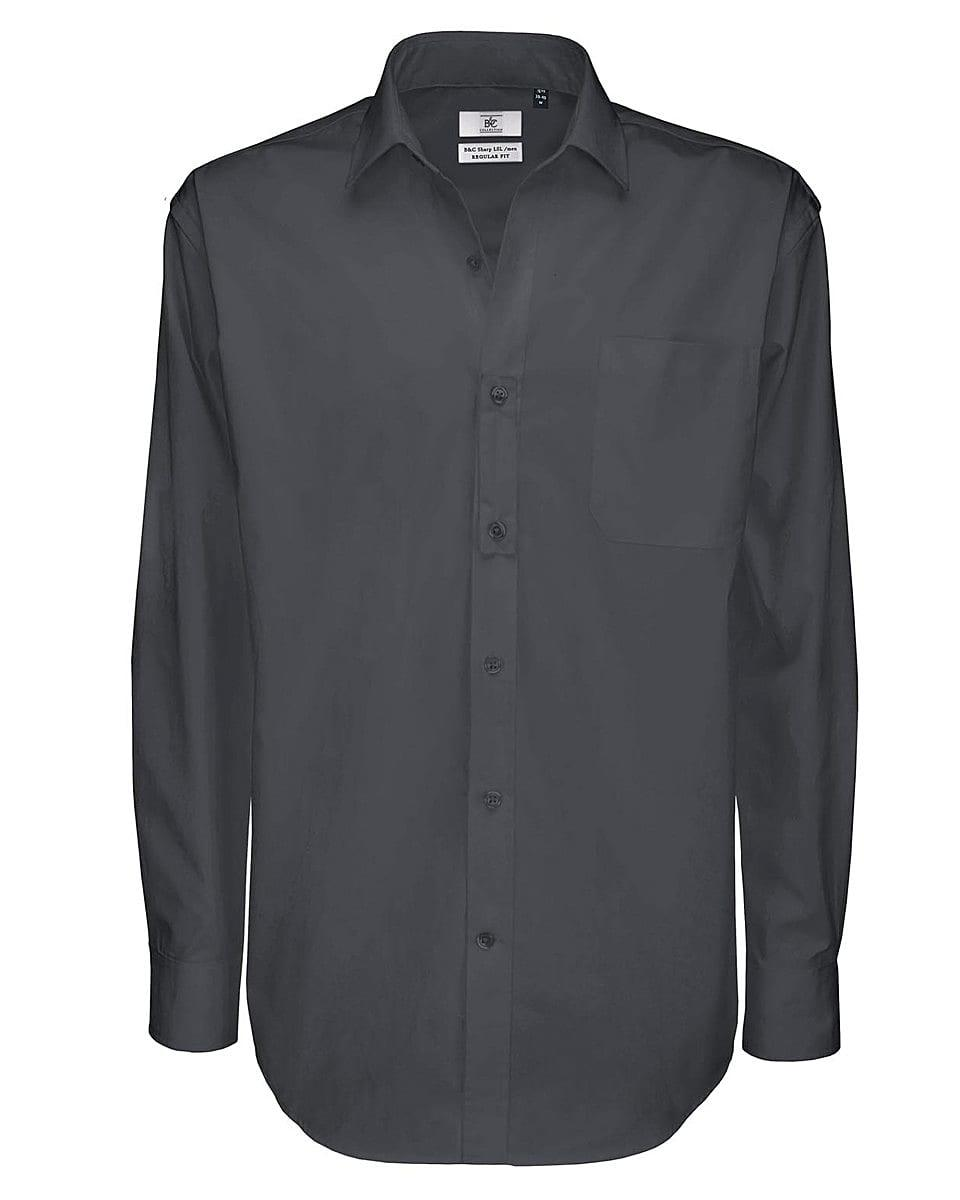 B&C Mens Sharp Twill Cotton Long-Sleeve Shirt in Dark Grey (Product Code: SMT81)