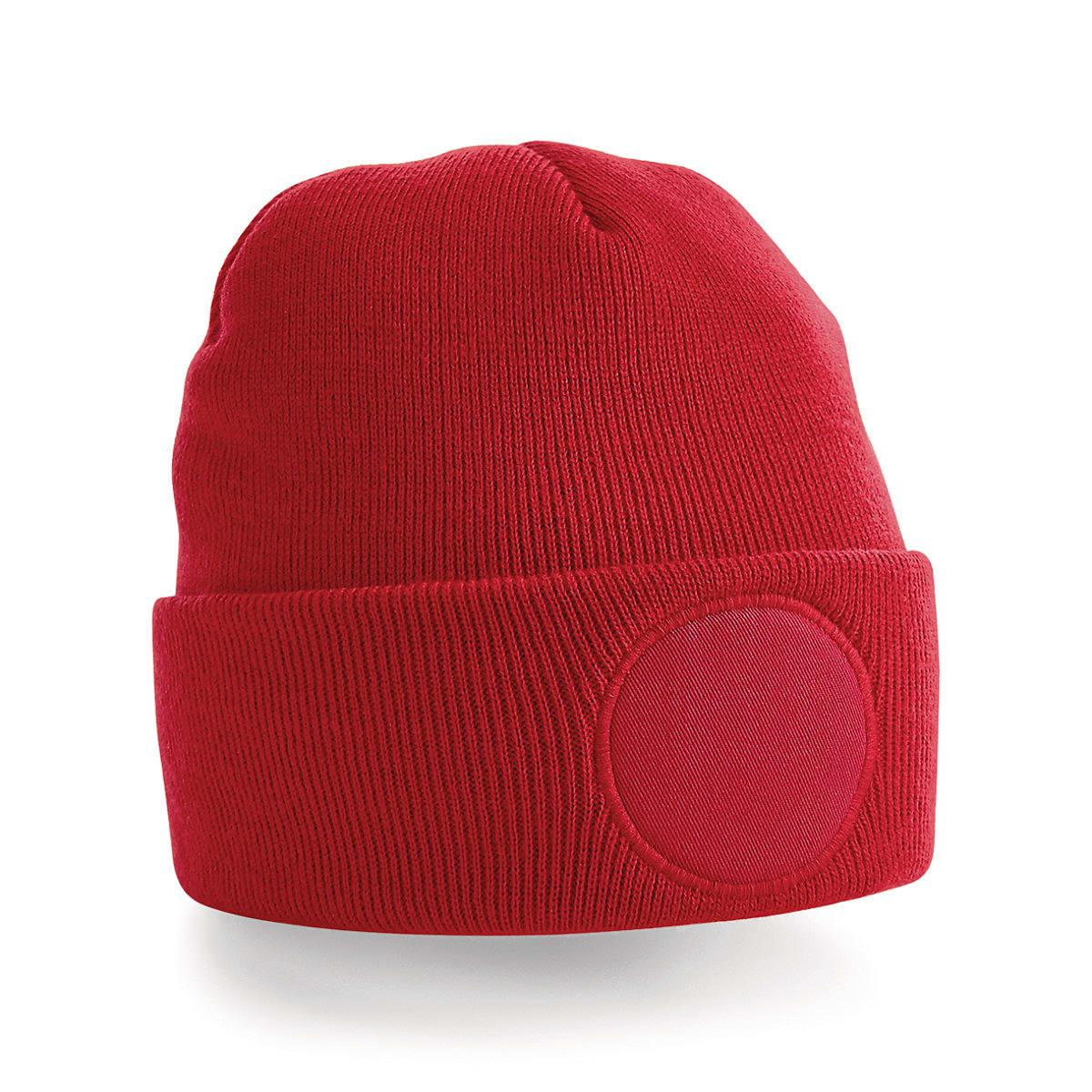 Beechfield Circular Patch Beanie Hat in Classic Red (Product Code: B446)