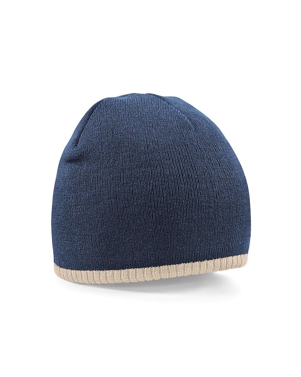 Beechfield Two-Tone Beanie Knitted Hat in French Navy / Stone (Product Code: B44C)