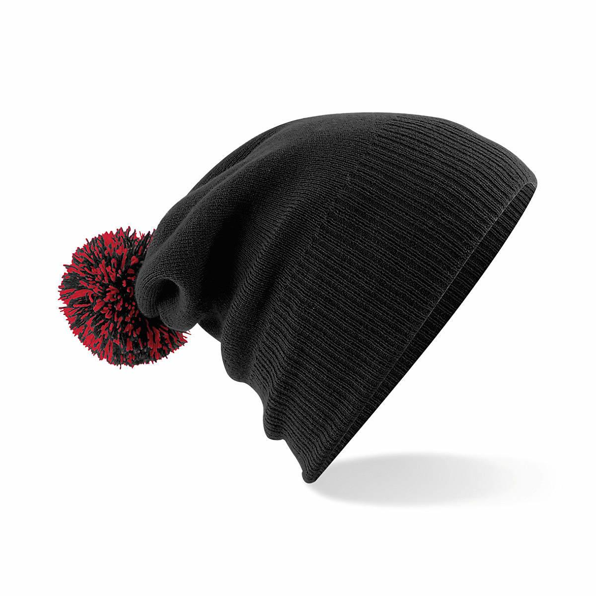 Beechfield Snowstar Beanie Hat in Black / Classic Red (Product Code: B450)
