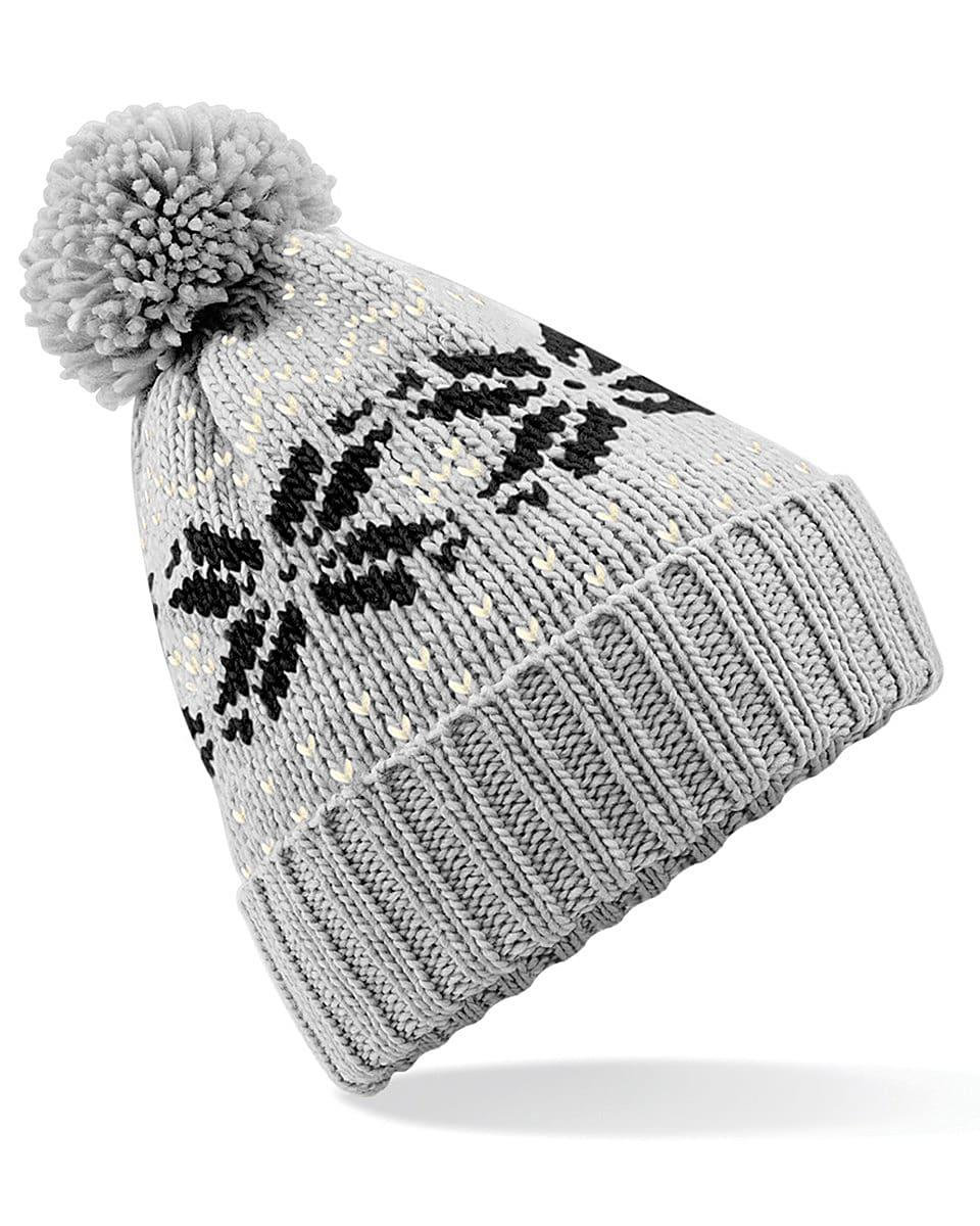 Beechfield Fair Isle Snowstar Beanie Hat in Light Grey / Black / Off-White (Product Code: B456)