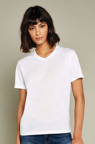 Xpres Womens Short-Sleeve Subli Plus V-Neck T-Shirt