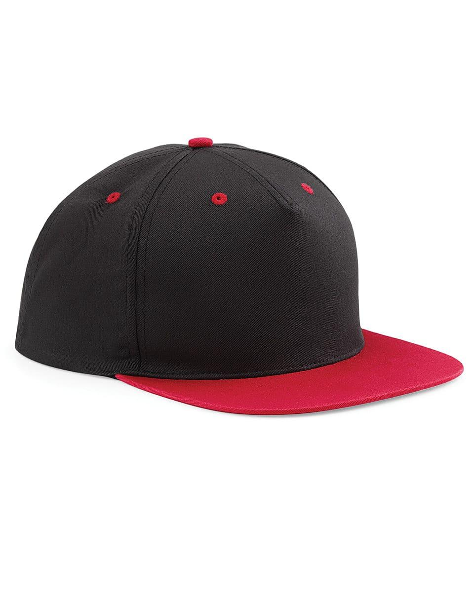 Beechfield 5 Panel Contrast Snapback Cap in Black / Classic Red (Product Code: B610C)