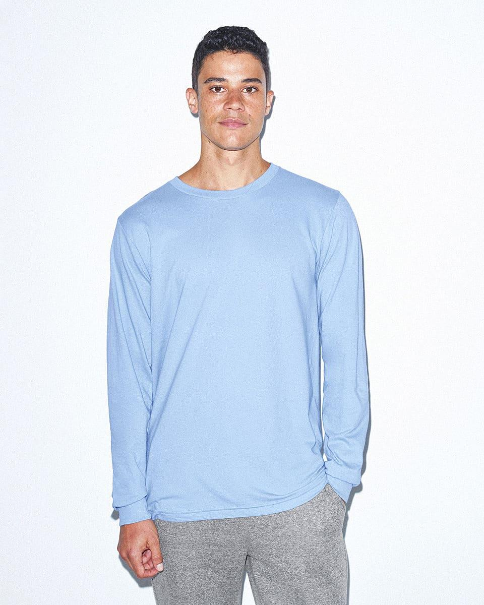 American Apparel Unisex Fine Jersey LS T-Shirt in Baby Blue (Product Code: 2007W)