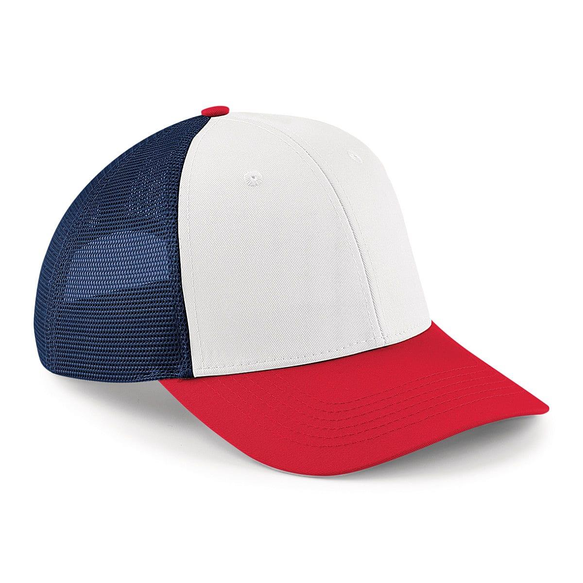 Beechfield 6 Panel Snapback Trucker Cap in French Navy / Classic Red / White (Product Code: B647)
