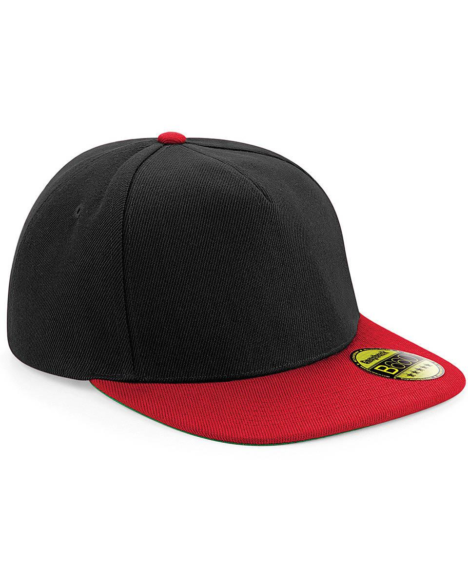 Beechfield Original Flat Peak Snapback in Black / Classic Red (Product Code: B660)