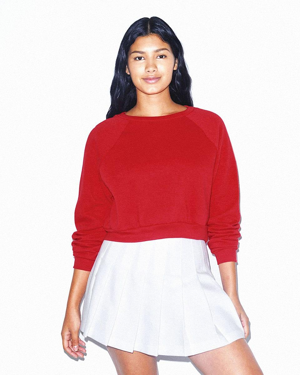 American Apparel Womens Crop Pullover in Red (Product Code: RSAF3451W)