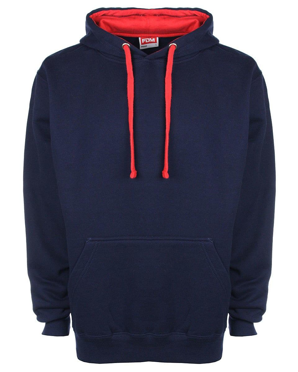 FDM Unisex Contrast Hoodie in Navy / Fire Red (Product Code: FH002)