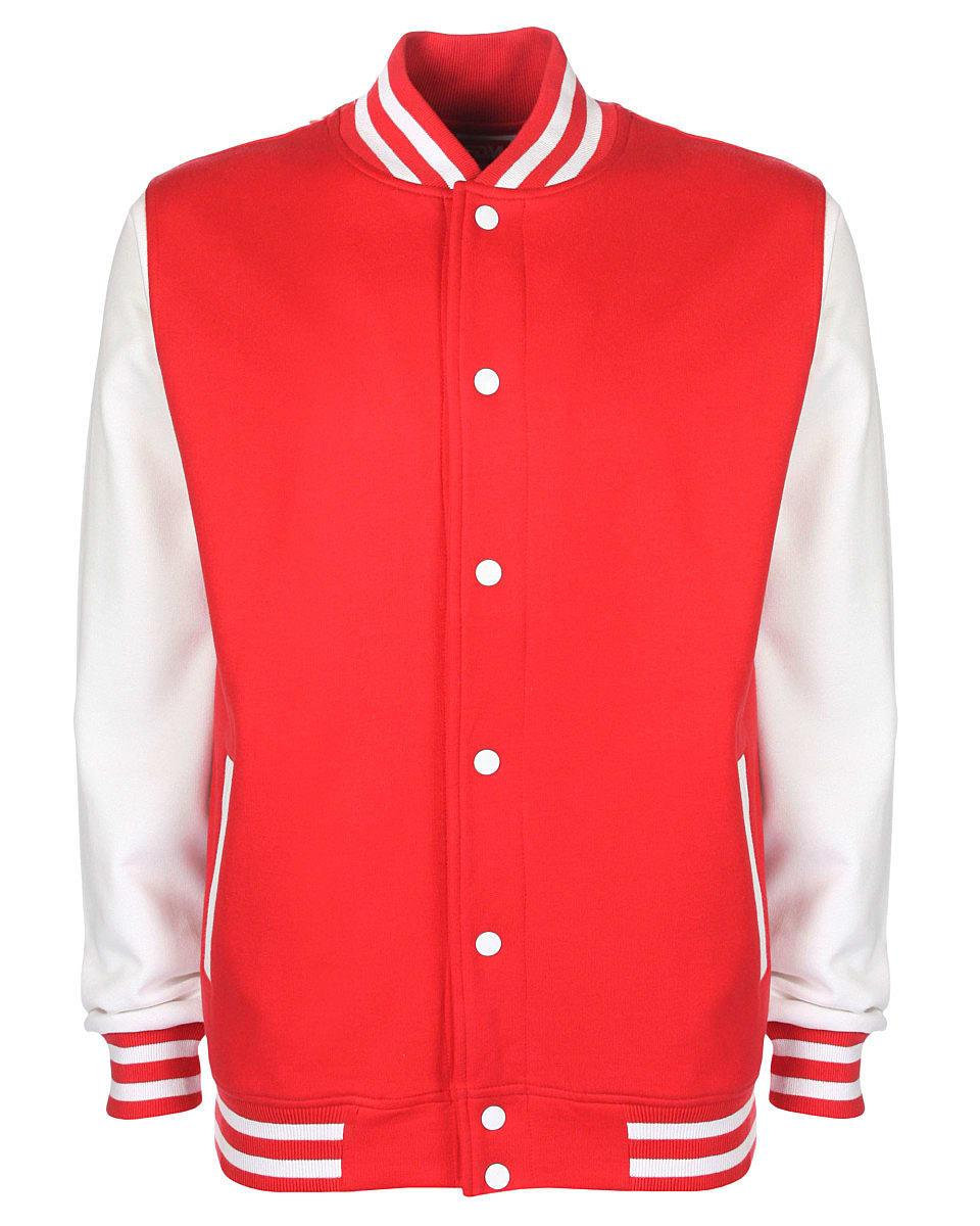 FDM Unisex Varsity Jacket in Fire Red / White (Product Code: FV001)