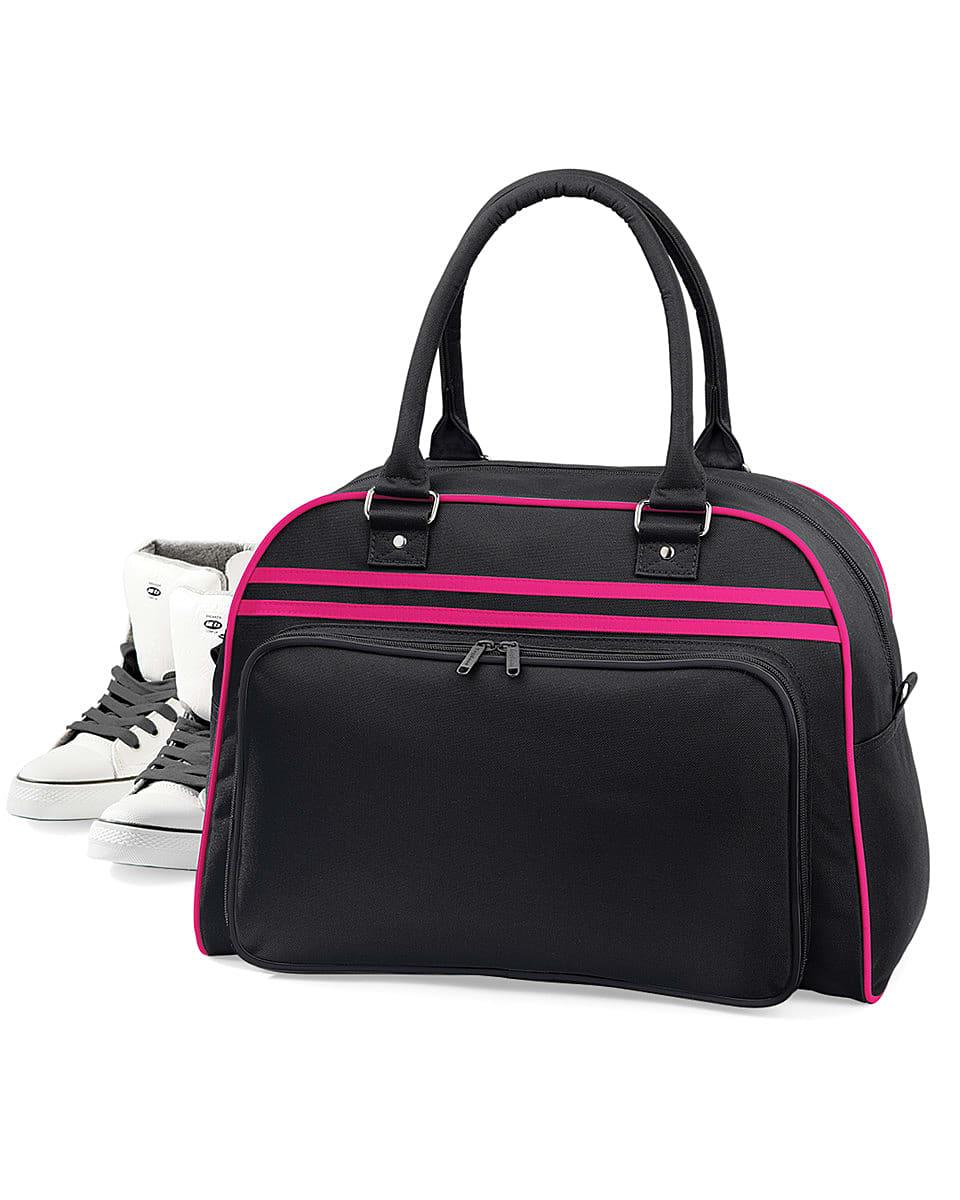 Bagbase Retro Bowling Bag in Black / Fuchsia (Product Code: BG75)
