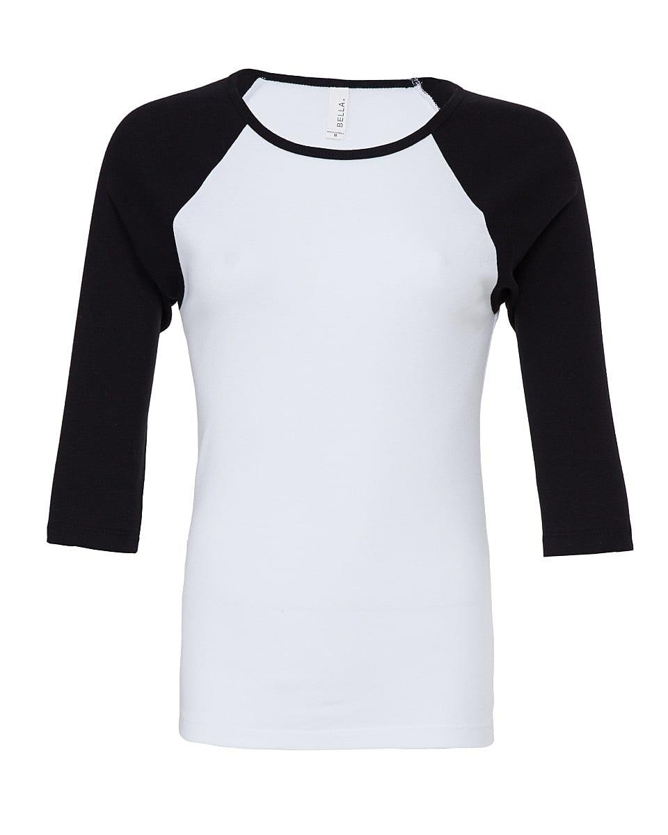 Bella Womens 3/4 Contrast T-Shirt in White / Black (Product Code: BE2000)