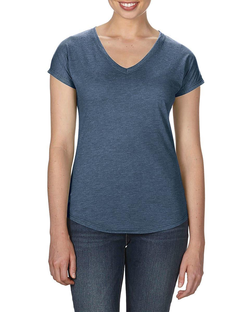 Anvil Womens Tri-Blend V-Neck T-Shirt in Heather Navy (Product Code: 6750VL)