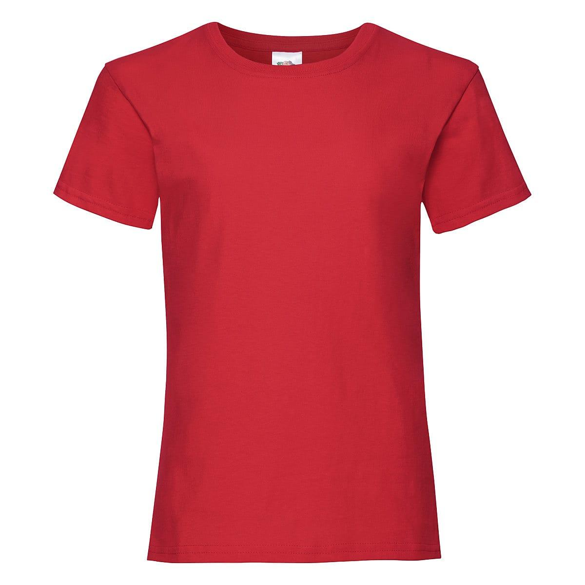 Fruit Of The Loom Girls Valueweight T-Shirt in Red (Product Code: 61005)