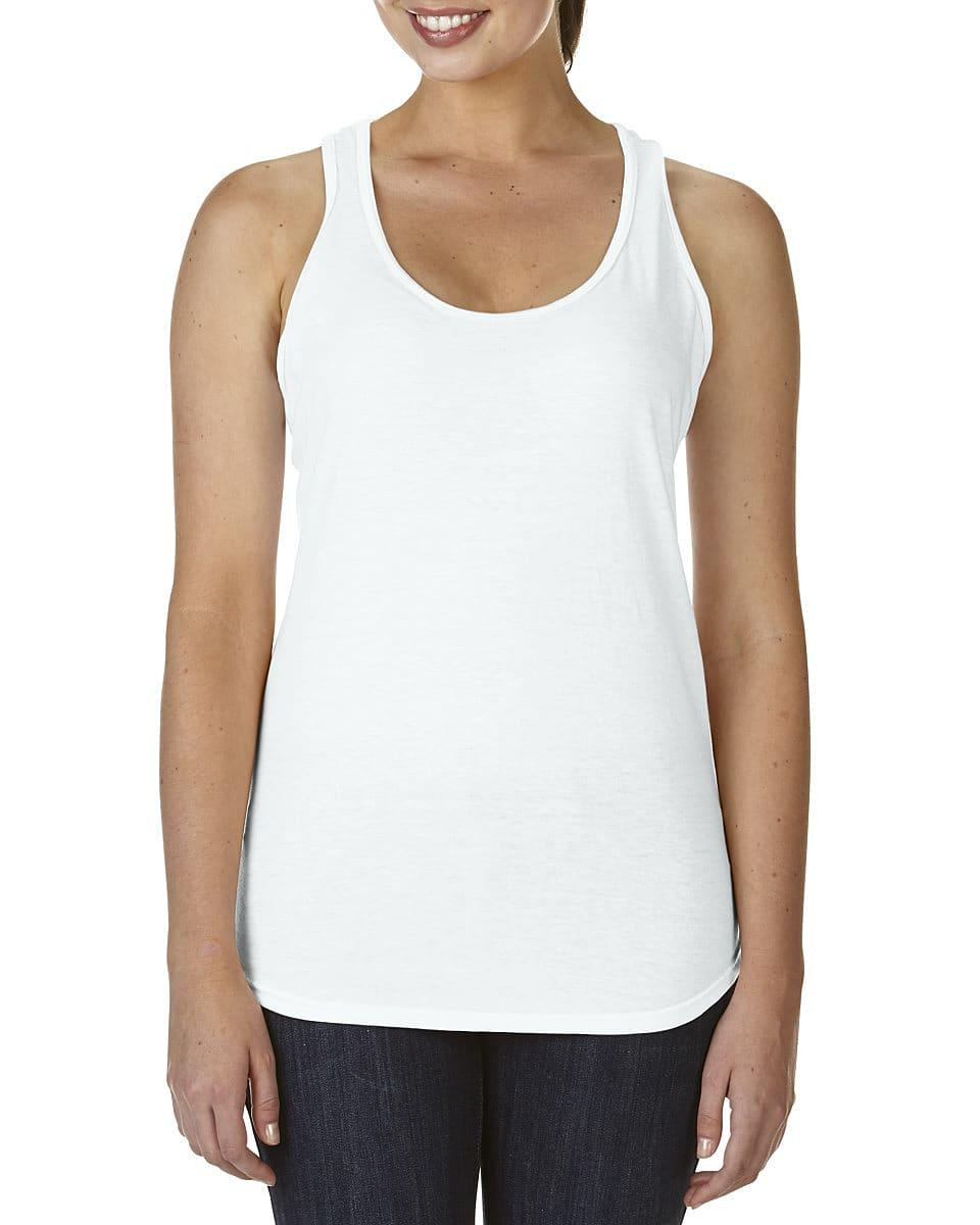 Anvil Womens Tri-Blend Racerback Tank in White (Product Code: 6751L)