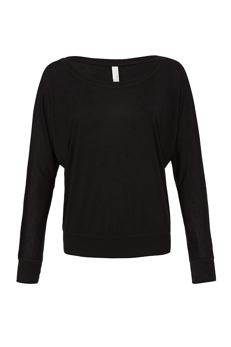 Bella Flowy Off Shoulder Long-Sleeve T-Shirt in Black (Product Code: BE8850)