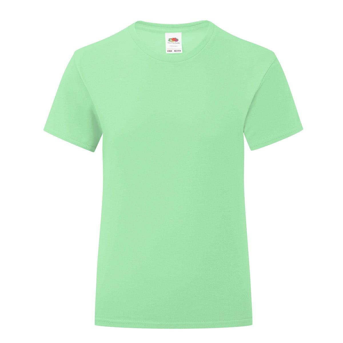 Fruit Of The Loom Girls Iconic T-Shirt in Neo Mint (Product Code: 61025)